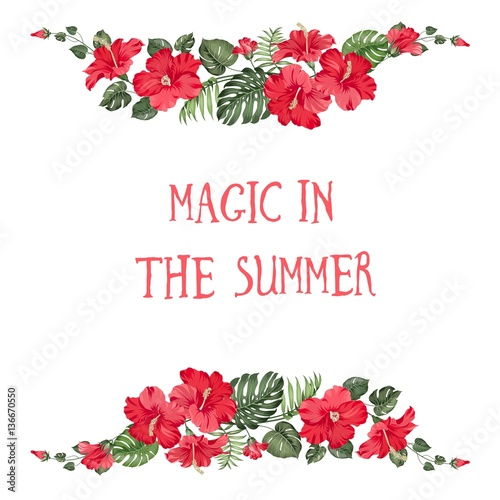 magic summer invitation card blossom flowers for template