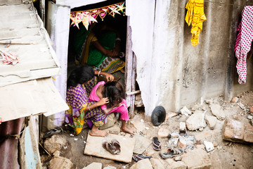 Indian Family in a Slum