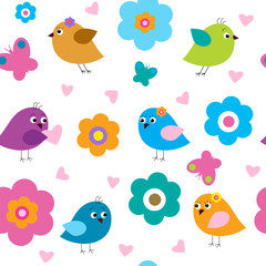 Seamless pattern with cute birds and flowers