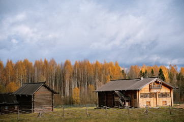 view of the village in autumn gray sky and the house