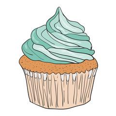 Vector drawing, illustration cupcake muffin