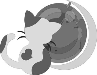 The pretty little cat and a terrestrial globe