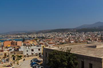 Rethymno, Greece - July  30, 2016: Panoramic view to Rethymno fr