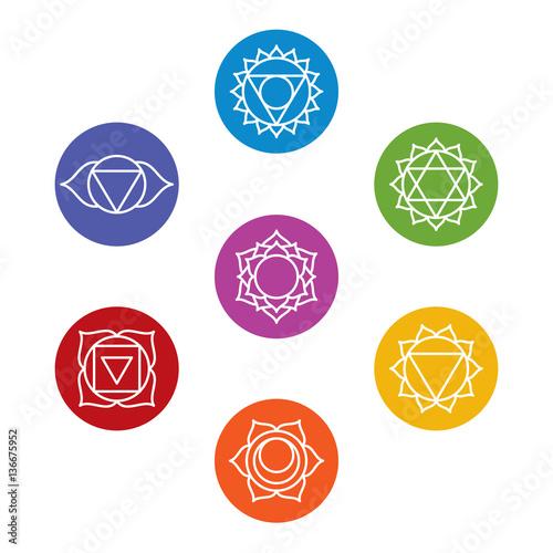 """""""Set of seven chakra symbols. Yoga, meditation. Vector ..."""