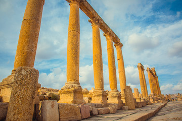 Ancient columns city of Jerash, Jordan