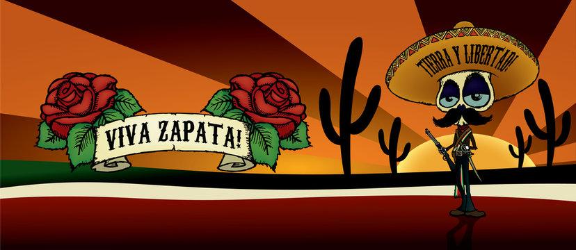 Viva Zapata!Cartoon skeleton character illustration of Emiliano Zapata.