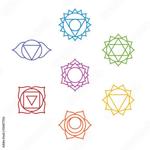 Set Of Seven Chakra Symbols Yoga Meditation Vector Stock Image