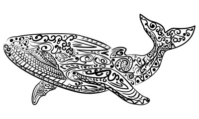 Zentangle stylized whale vector illustration