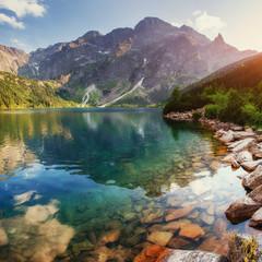 Obraz Lake high in the Tatras Sea Eye. Poland - fototapety do salonu