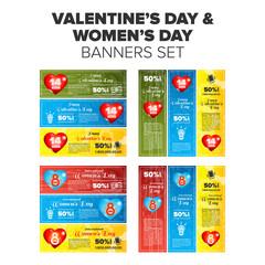 Valentine and women day banner set