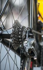Rear wheel of sports track bike.