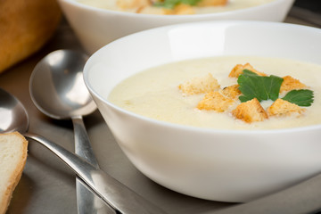 Cheese soup with white bread