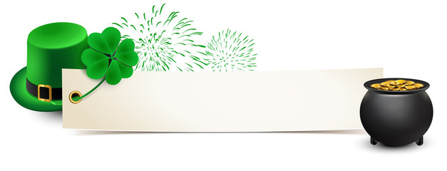 st patricks day - banner with leprechaun hat, shamrock, fireworks and a pot of gold - template