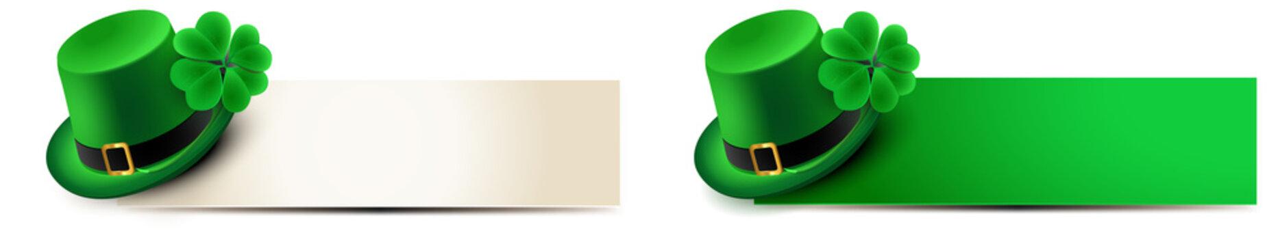 st patricks day - banner set with leprechaun hat and shamrock