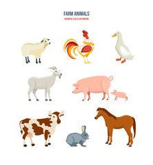 Set of different farm animals on white background.
