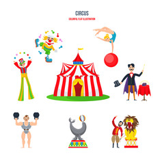 Circus concept - performances, clowns, jugglers, strongman, acrobats, magician, animal trainer.