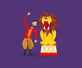 Tamer entertains the audience, showing dangerous, amazing tricks with lion.