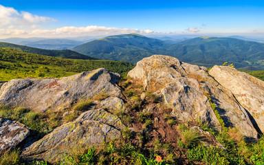 huge boulders in valley on top of mountain ridge