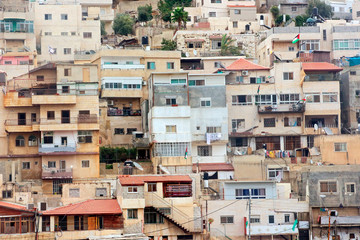 Densely constructed houses on the hillside of Mount of Olives, Jerusalem, Israel.