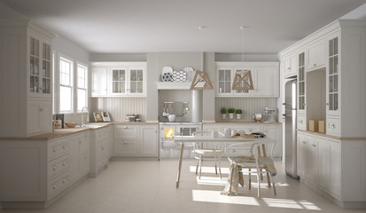 Scandinavian classic white kitchen with wooden details, minimali