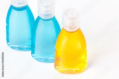 Cosmetics bottles mock ups with shower gel, body moisturizing lotion