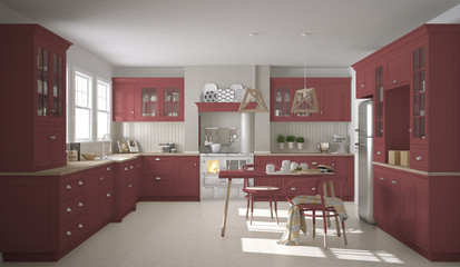 Scandinavian classic kitchen with wooden and red details, minima