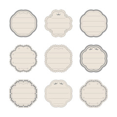 Set of frame vintage labels for the signature of notebooks, textbooks.