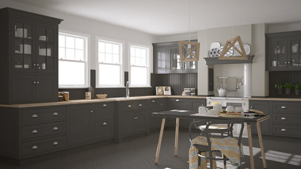 Scandinavian classic gray kitchen with wooden details, minimalis