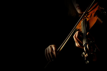 Photo sur Toile Musique Violin player violinist playing hands close up isolated