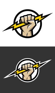 Hand holding a lighting Bolt.