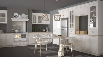 Scandinavian classic white kitchen with wooden details, minimali