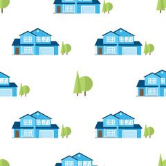 Suburban american houses seamless pattern.