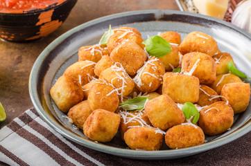 Golden fried mini croquette