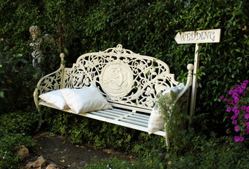 English Style Garden Bench with Wedding Sign