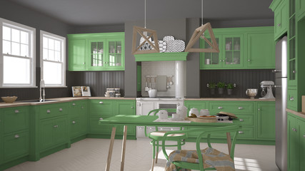 Scandinavian classic kitchen with wooden and green details, mini