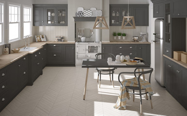 Scandinavian classic gray kitchen with wooden details, minimalis