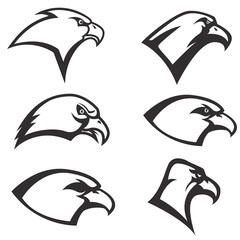 Set of Eagle heads icon isolated on white background. Vector des