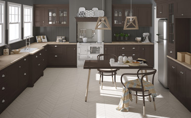 Scandinavian classic kitchen with wooden and brown details, mini