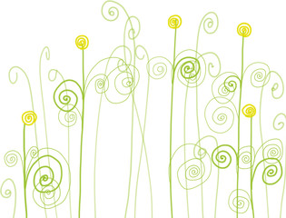 Colorful hand drawn abstract dandelions, illustration painted by watercolor and acrylic paint