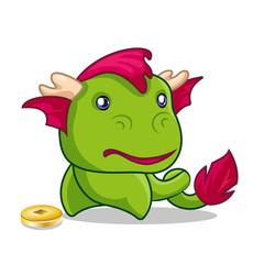 cartoon cute green dragon with Chinese coin