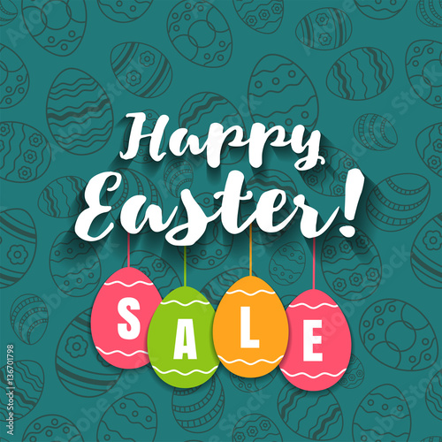 "Easter Sale: ""Happy Easter Spring Sale Offer, Banner Template"