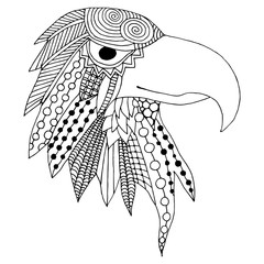 Eagle head doodle illustration