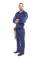 Young worker standing with arms crossed on white background - fu