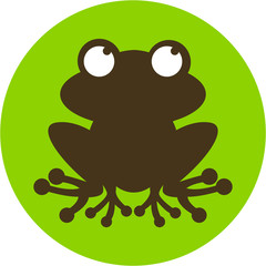 Cute Cartoon Frog Silhouette Graphic Icon