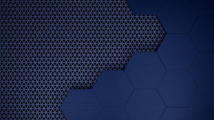 Blu hexagons grid template background 3d illustration