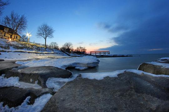 Lake Erie Winter Sunset in Ohio USA