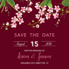 Save the Date Card. Tropical Orchid Flowers and Leaves Wedding Invitation