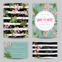 Save the Date Card Set. Tropical Orchid Flowers and Leaves Wedding Invitation Set