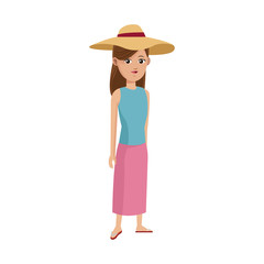 woman wearing a hat over white background. colorful design. vector illustration