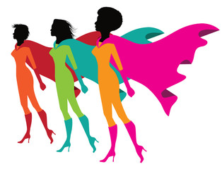 Three proud superwomen in rainbow colors. LGBTQ, multicultural female superheroes. EPS 10 vector.